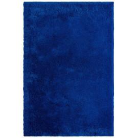 Tapis shaggy uni en polyester bleu royal Waffle