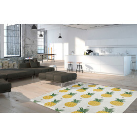 Tapis avec motifs ananas design blanc Sana
