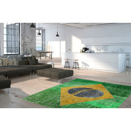 Tapis drapeau brésilien plat imprimé Brazil