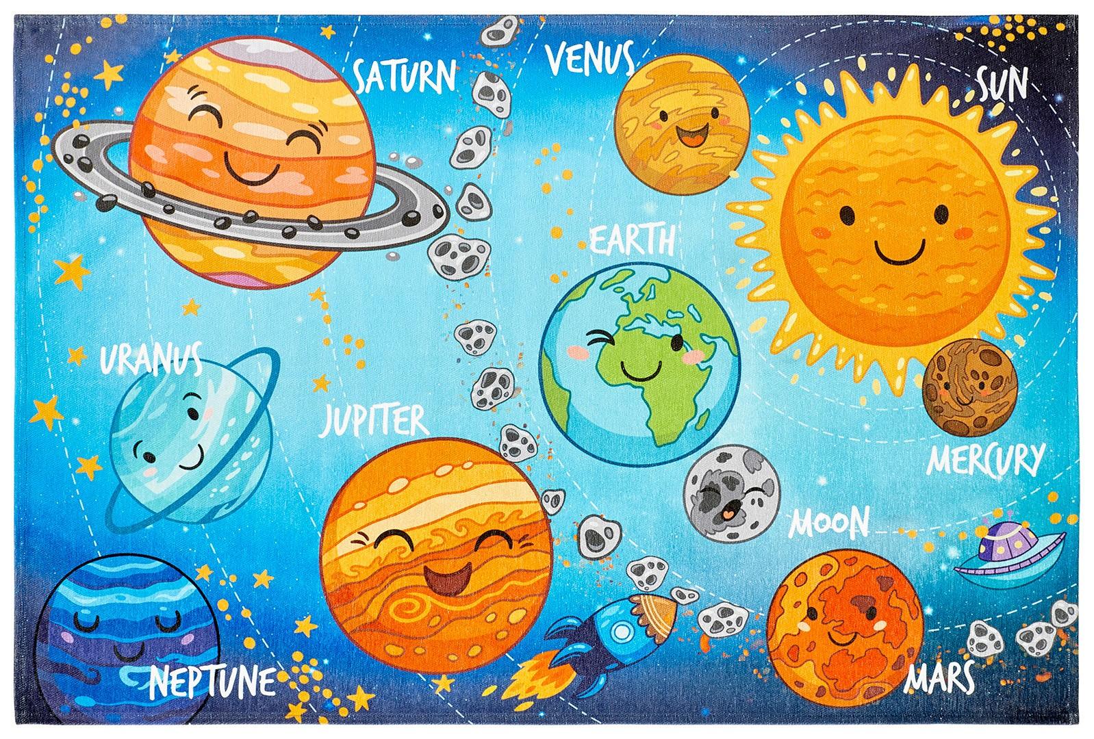 Tapis plat pour chambre d'enfant multicolore Solar