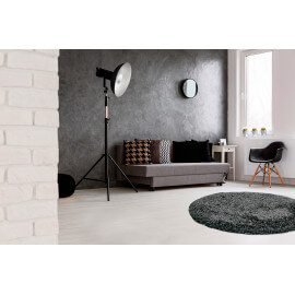 Tapis rond en polyester doux shaggy gris Wow