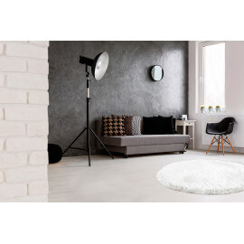 Tapis rond en polyester doux shaggy blanc Wow