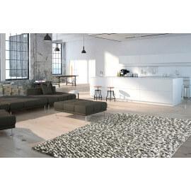 Tapis naturel en laine feutrée épais pour salon gris Missi