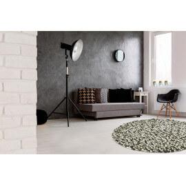 Tapis rond naturel en laine feutrée épais pour salon gris Missi