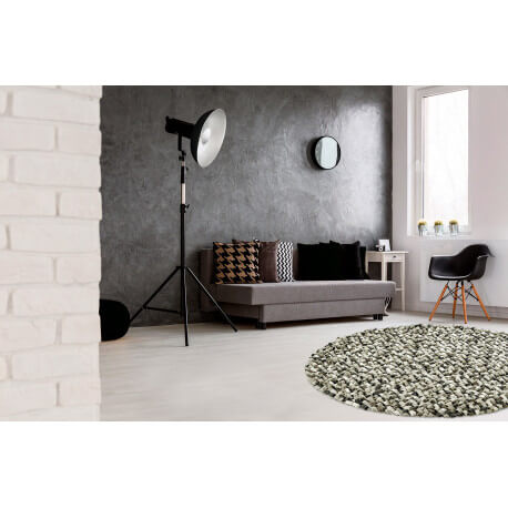 tapis rond naturel en laine feutr e pais pour salon gris missi. Black Bedroom Furniture Sets. Home Design Ideas