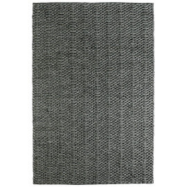 Tapis fait main en laine et viscose uni graphite Bombus
