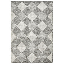 Tapis en coton et laine naturel géométrique argenté Lagos