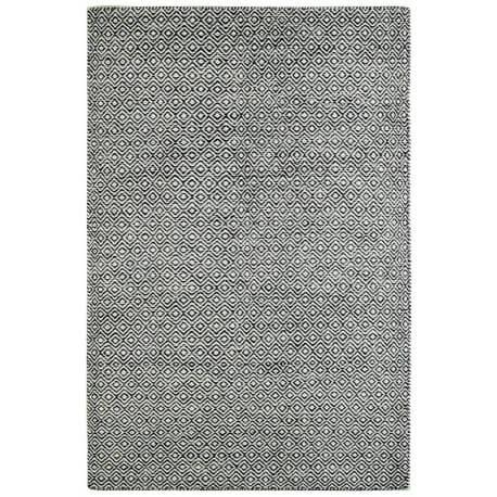 Tapis scandinave en laine géométrique à poils court graphite Mandoor