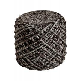 Pouf en laine et viscose et intérieur polystyrène café Royal