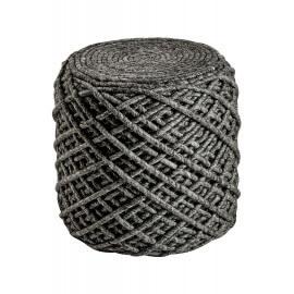 Pouf en laine et viscose et intérieur polystyrène graphite Royal