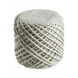 Pouf en laine et viscose et intérieur polystyrène ivoire Royal