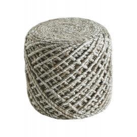Pouf en laine et viscose et intérieur polystyrène sable Royal