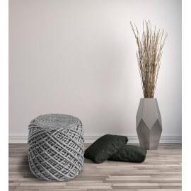 Pouf en laine et viscose et intérieur polystyrène argenté Royal