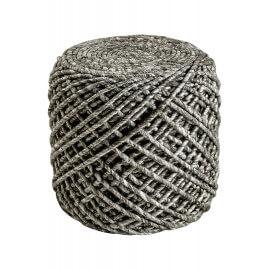 Pouf en laine et viscose et intérieur polystyrène taupe Royal