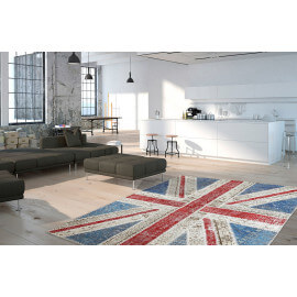 Véritable tapis patchwork en laine et noué main multicolore Union Jack