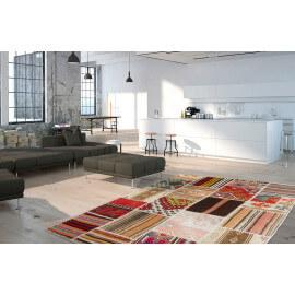 Véritable tapis patchwork en laine et noué main multicolore Sanfo