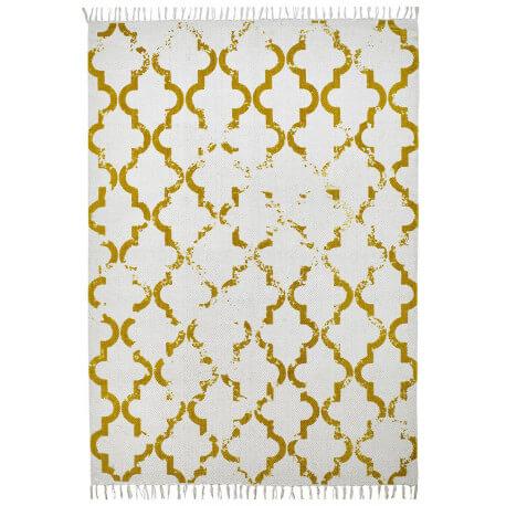 Tapis en coton style scandinave vintage moutarde Jokk