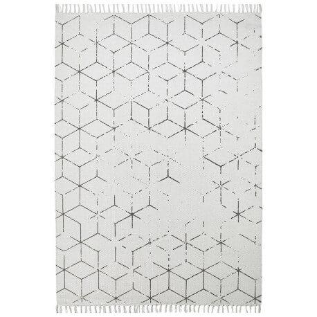 Tapis géométrique vintage plat gris Thor