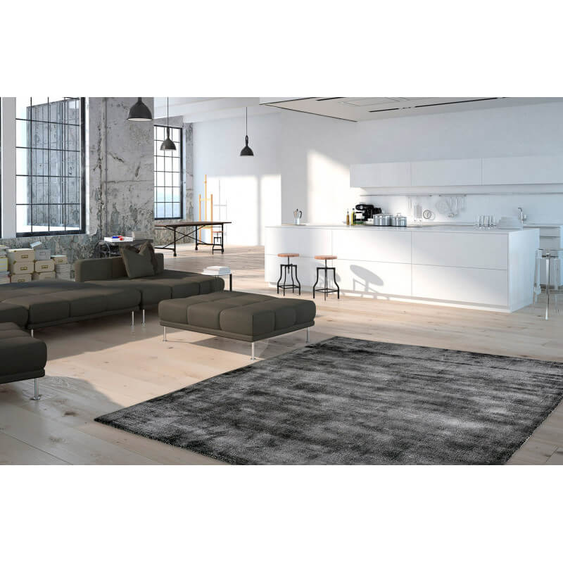tapis poils court anthracite en tencel anti t ches vanity. Black Bedroom Furniture Sets. Home Design Ideas