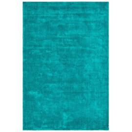Tapis à poils court bleu pétrole en Tencel anti-tâches Vanity