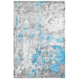 Tapis bleu vintage en viscose rectangle Studio