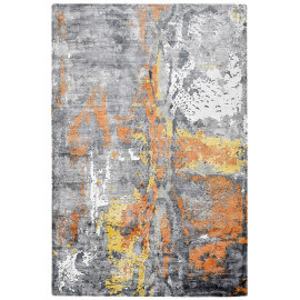 Tapis jaune vintage en viscose rectangle Studio