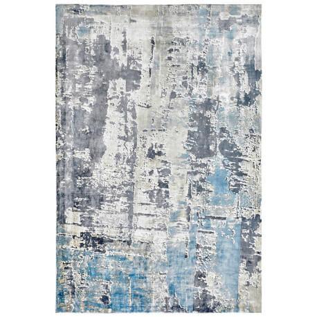 tapis vintage bleu en viscose pour salon story - Tapis Vintage