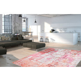Tapis vintage orange en viscose pour salon Story