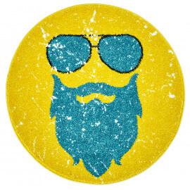 Petit tapis rond jaune tendance Hipster