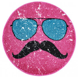 Petit tapis rond rose tendance Hipster