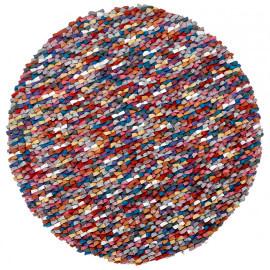 Tapis rond naturel en laine feutrée épais pour salon multicolore Missi