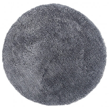 Tapis rond tufté main doux en polyester gris Nevio