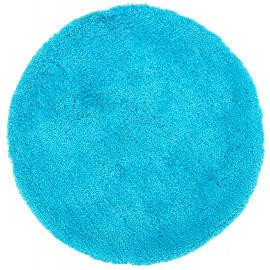 Tapis rond tufté main doux en polyester turquoise Nevio