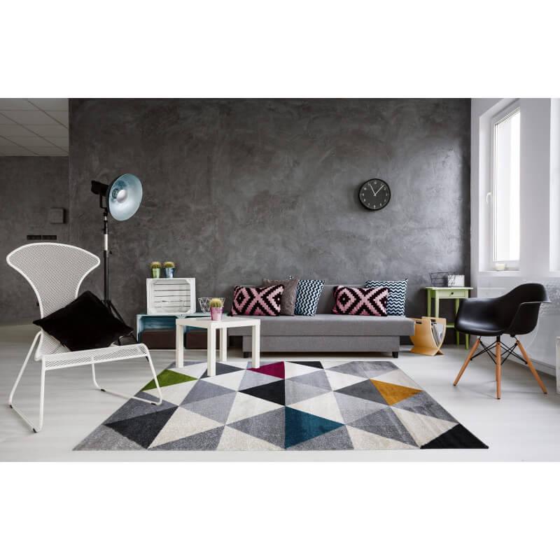 tapis g om trique style scandinave multicolore pour salon gomi. Black Bedroom Furniture Sets. Home Design Ideas