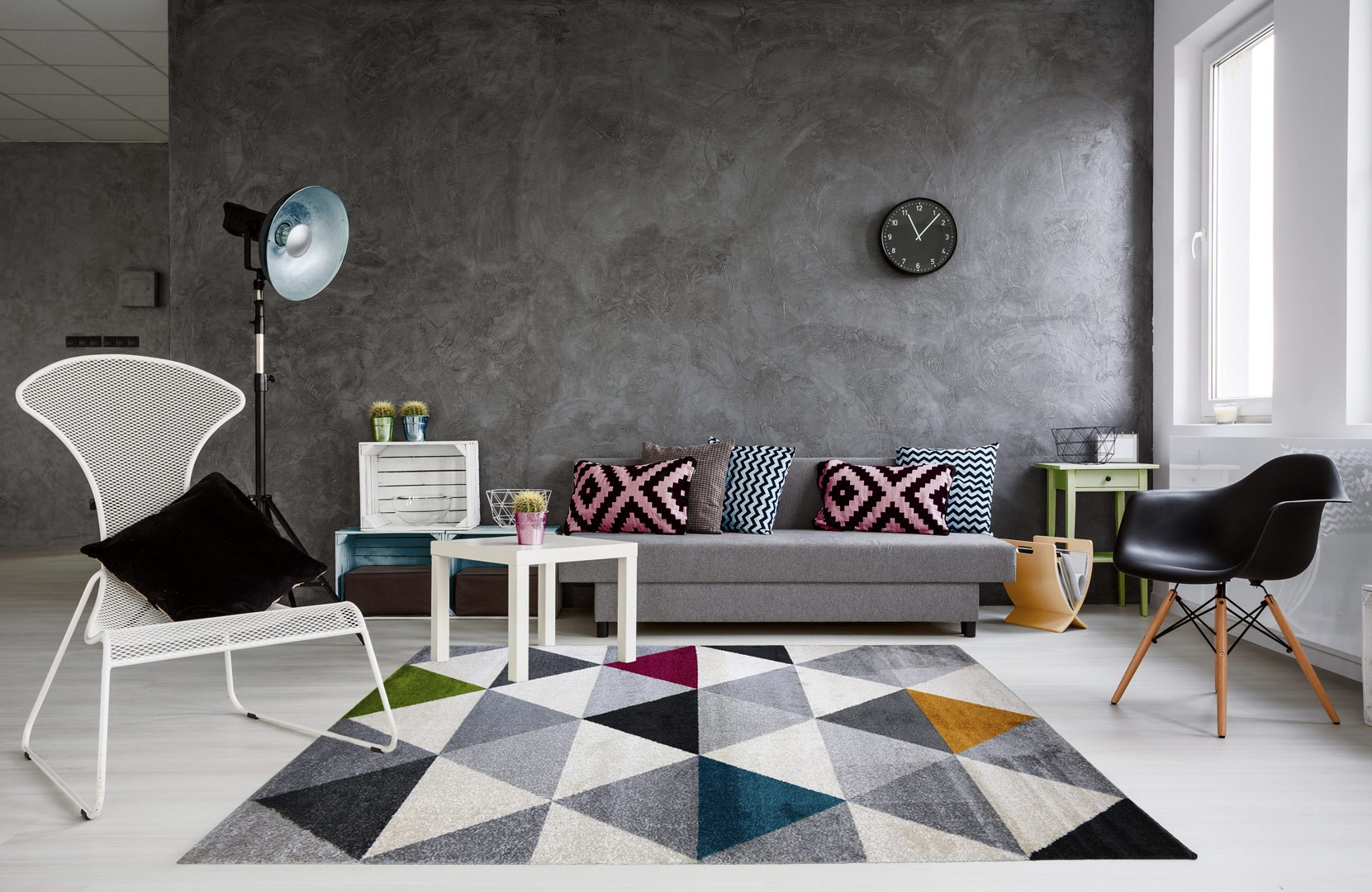 tapis g om trique style scandinave multicolore pour salon gomi. Black Bedroom Furniture Sets. Home Design Ideas
