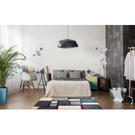 Tapis de chambre cubique multicolore à poils court Canvas