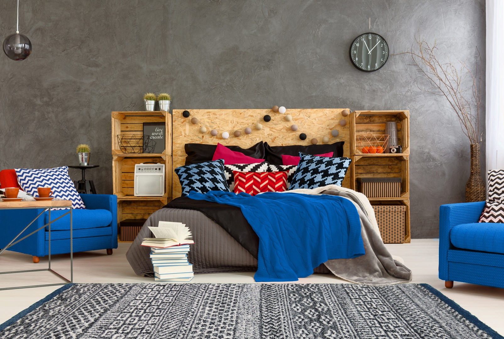 tapis ethnique pour chambre bleu doux spectre. Black Bedroom Furniture Sets. Home Design Ideas
