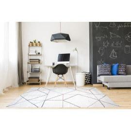 Tapis blanc de salon doux géométrique Grindi
