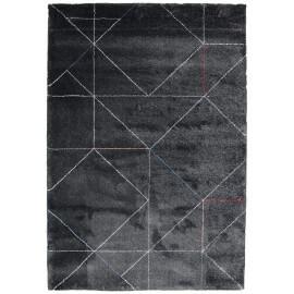 Tapis anthracite de salon doux géométrique Grindi