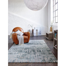 Tapis bleu pétrole géométrique Velvet Grid Esprit Home