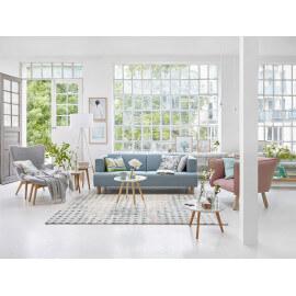 Tapis vintage moderne bleu Velvet spots Esprit Home