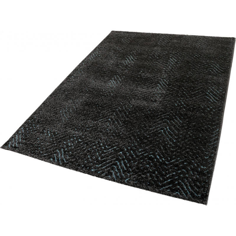 tapis bleu relief moderne poils court esprit home. Black Bedroom Furniture Sets. Home Design Ideas