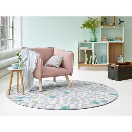 Tapis beige rond en laine Fluttery Esprit Home