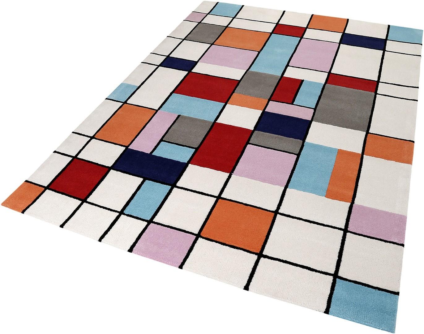 tapis cubique multicolore en laine buttons esprit home. Black Bedroom Furniture Sets. Home Design Ideas