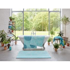 Tapis de bain turquoise géométrique Flair Esprit Home