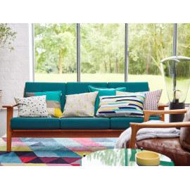 Tapis géométrique multicolore en coton Rainbow Triangle Kelim