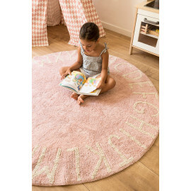Tapis rond enfant rose lavable en machine Round ABC Lorena Canals
