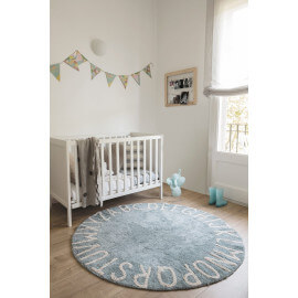 Tapis rond enfant bleu lavable en machine Round ABC Lorena Canals