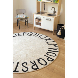 Tapis rond enfant blanc lavable en machine Round ABC Lorena Canals