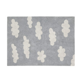 Tapis lavable en machine pour enfant gris Clouds Lorena Canals